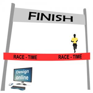 Design på din computerskærm, mållinje bånd med tekst og logo
