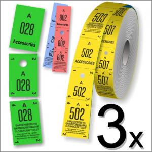 Tre delte garderobebilletter i rulleformat