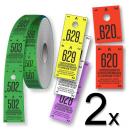 Ruller med garderobebilletter opdelt i to dele