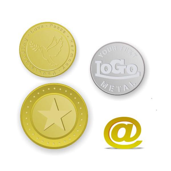 Messing poletter og mønter præget med logo og tekst