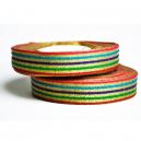 Fancy båndrulle med metallisk flerfarvet mønster til stofarmbånd
