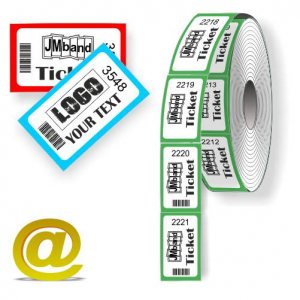 Skræddersyet termisk rulle billetter med tekst og logo