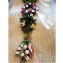Skræddersyede blomsterbånd af ECO satin, med tekst og logo
