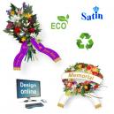 Design online buketbånd af ECO satin , med tekst og logo