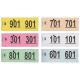 Garderobenumre i hæfte i forskellige farver