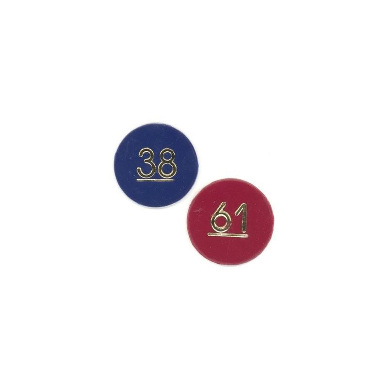 Sekventielt nummererede plastik mønter