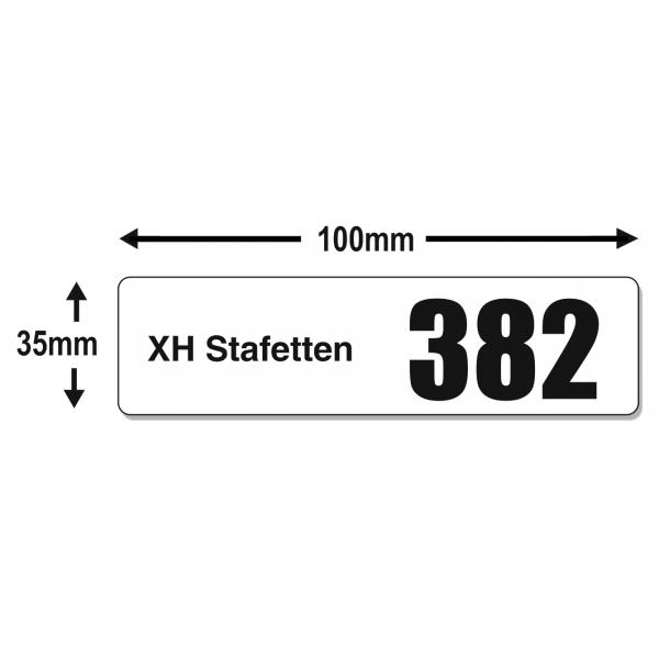 Startnummer klistermærker i forskellige størrelser med store tal