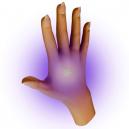Påvisning af UV-blæk på menneskets hud.