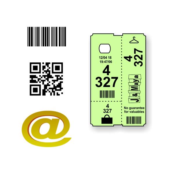 Skræddersyet termisk garderobebillet med tekst og logo