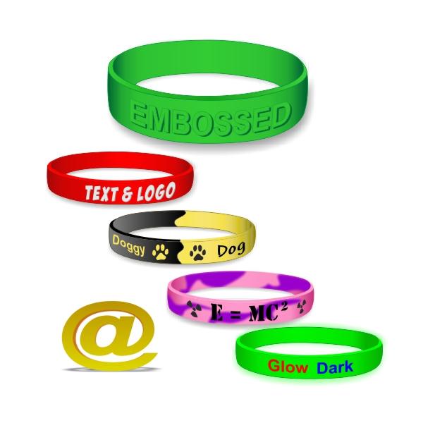 Skræddersyede silikonearmbånd med din tekst og logo