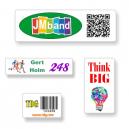 Skræddersyede klistermærker i A4 format med tekst og logo