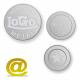 Aluminium poletter og mønter præget med logo og tekst