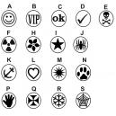 Forskellige design af gummistempler på lager