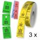 Garderobenumre ruller af tre delte i forskellige farver